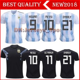 Wholesale 2018 Argentina world cup Soccer Jersey Thailand Argentina MESSI soccer shirt DYBALA AGUERO home Football uniforms