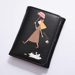 China Women Trifold Leather Wallets Cat Candy Color Short Card Holder Kids Purse Wallet Cute Girls Mini Cartoon PU Money Bag Coin cheap black leather cat purse suppliers