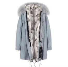 $enCountryForm.capitalKeyWord UK - JAZZEVAR brand New arrival Grey raccoon fur trim female snow coats grey white Color stripe rabbit fur lining light blue long parkas
