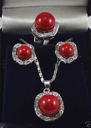$enCountryForm.capitalKeyWord Australia - Wedding Jewelry 10mm &14mm Red South Sea Shell Pearl Necklace Earrings Ring Set