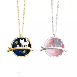 $enCountryForm.capitalKeyWord NZ - Fashion Universe Earth Little Cat Necklace Gold Silver Animal Pendant Chains Gemstone Cat Necklaces Fashion Jewelry for Women Girls