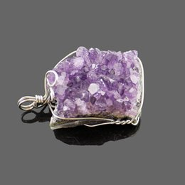 Rock Crystal Cluster NZ - Natural purple crystal pendant crystal clusters of European and American ideas of original rock wound by hand