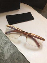 Discount double top plate - Best-selling glasses frame half-frame 18k gold-plated ultra-light optical framewood legs for men business style top qual