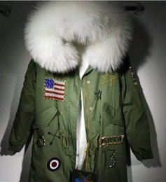 lined green army parka Australia - hot sale white fur trim meifeng brand white rabbit fur lining army green long canvas usa flag Beading parkas women snow jackets