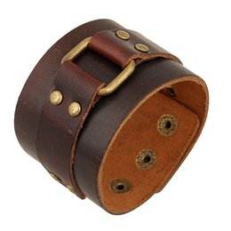 Wholesale Vintage Brown Leather Cuff Bracelets Male Jewelry Decoration Punk Motorcycle Wristband cm Genuine Leather Bangle Wide Bracelet