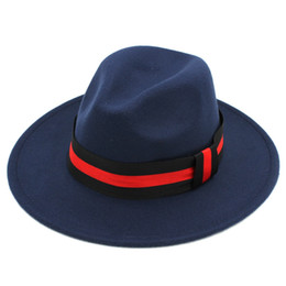 Brown jazz online shopping - Vintage Unisex Wool Blend Panama Hat Jazz Outdoor Wide Brim Sombrero Godfather Cap Fedora Hats Size cm