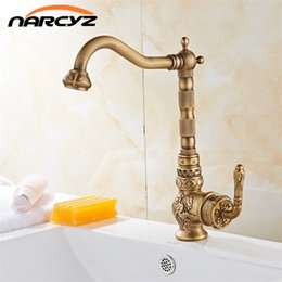 antique kitchen handles NZ - Retro Style Antique Brass Kitchen Faucet Cold and Hot Water Mixer Single Handle 360 Degree Rotation New Arrival Tap XT-25