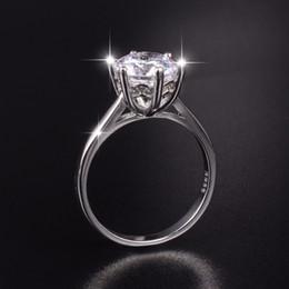 $enCountryForm.capitalKeyWord NZ - Hot Sale Brand 925 sterling silver ring classic six claw 3 8mm Big simulated Diamond Engagement Wedding rings for women