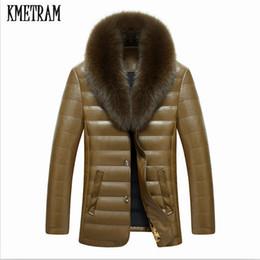 Duck Parka Man Canada - KMETRAM Winter Men's Leather 90% White Duck Down Jacket Real Fox Fur Collar Men Sheepskin Down Jacket Parka Pluma Hombre HH191