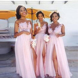 Discount blue sleeveless lace dress - Cheap Country blush pink bridesmaid dresses 2019 Sexy sheer Jewel neck lace appliques maid of honor dresses split evenin