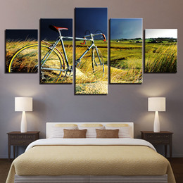 Art Canvas Prints Australia - Canvas Paintings Home Wall Art Decor HD Prints Modular Pictures 5 Pieces Vintage Bicycle In The Growth Of Grass Poster Framework