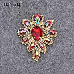 Sewing Plate NZ - JUNAO 45*59mm Red AB Glass Crystals Sewing Flowers Rhinestones Sew On Beads Appliques Flatback Gold Base Claw Crystal Stones For Dress