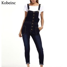 68d2e33336501 2018 Spring Skinny Denim Overalls for Women Single-breasted with Pockets Jumpsuits  Female Plus Size Enteritos Vintage Bodysuits