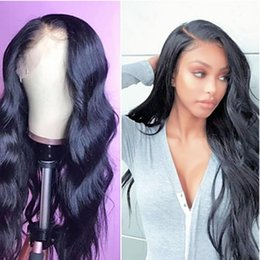 Side part black wig online shopping - Sweetheart High Temperature Fiber Natural Hairline Synthetic Lace Front Wigs Black Color Long Wavy Wigs For Women Side Part Density