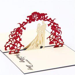 Vente En Gros Invitation De Mariage Arc Fleurs Personnaliser 3D Pop Up Carte Voeux Cartes A La Main Livraison Gratuite
