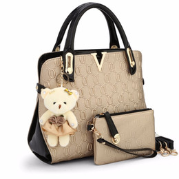 080966cec556 EYUYRYO brand luxury 2 Bags set With bear toy Casual tote Embossed Designer  Handbags High Quality Leather Shoulder Bag and purse