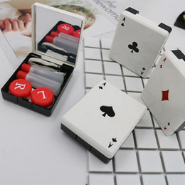 Wholesale poker card clubs diamonds hearts A contact lens case for lenses container box for glasses cute