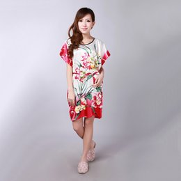 $enCountryForm.capitalKeyWord NZ - Plus Size Lady Summer Printed Floral Robe Dress Chinese Women Silk Rayon Nightgown Sleepwear Kimono Bath Gown 20 colors A146