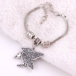 $enCountryForm.capitalKeyWord NZ - Vintage Raven Charm Morrigan Crow Amulet With CT Spirals Pendant Snake Chain Bracelet Jewelry For Woman Man Best Gift