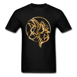 wolf t shirts men NZ - Tee Shirt Homme Gold Wolf Tattoo Print T Shirts Game Of Thrones T Shirt Stark Funny T-Shirt Regular Streetwear Youth Man Outfit