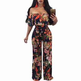 474358ecf19 2017 Ruffles Off The Shoulder Elegant Rompers Womens Jumpsuit Boho Style  Floral Print Long Jumpsuit Overalls Wide Leg