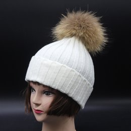 53076302fc7 Real Fur Pompoms For Hats Canada - skullies beanies for kids fur ball cap  winter hats