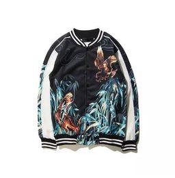 Tiger Uniform Canada - Eagle&Tiger Printing Designer Bomber Jackets Kpop Rockstar Stage Uniform Mens New Satin Fabrics Stand Collar Varsity Jacket baseball uniform