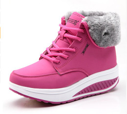 $enCountryForm.capitalKeyWord UK - Designer Women Winter Boots Ladies Plush Snow Ankle Boots Female Lace Up Wedges Platform Sneakers Casual Shoes Boots