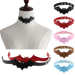 Discount devil leather - Chokers Necklaces Little devil PU leather colliers bat wings collar female neck clavicle necklace short punk leather Nec