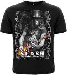 Vente en gros Mode T-shirts Casual Décontracté Court O-cou Hommes Rock Metal Band Slash Avec Guitare 100% Coton Unisexe T-Shirt