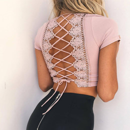 shirts sexy backs NZ - 2018 Lace up back sexy t-shirts for women crisscross fashion t shirt summer crop top hollow out hot female t-shirt tops tees