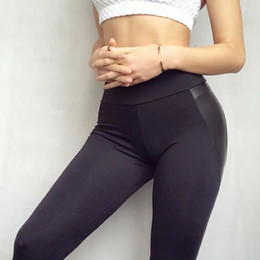 Faux leather skinny leggings online shopping - Casual Black Heart Shape Booty Leggings Pu Leather Patchwork Skinny Long Pants Women Push Up Workout Sporting Leggings