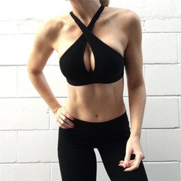 $enCountryForm.capitalKeyWord Australia - Solid Color Crossed Hollow Halter Tube Suit Sports Women Clothing Fitness Outdoor Exercising Running Yoga Dancing Body-building