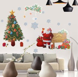 Tree nursery sTickers online shopping - Christmas Wall Sticker DIY Santa Claus Elk Gifts Tree Window Wall Stickers Removable Vinyl Wall Decals Xmas Decor