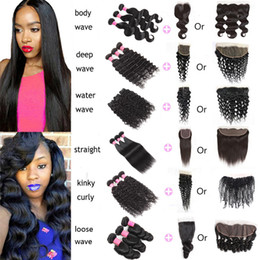 KinKy straight blonde online shopping - Brazilian Virgin Hair Body Loose Straight Water Deep Natural Wave Kinky Curly With Lace Closure x4 Lace Frontal Human Hair Extensions Weft