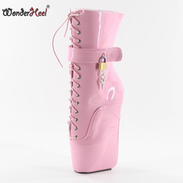 pink ballet knee boots 2019 - Wonderheel new 18cm wedges heel patent leather lace up locked padlocks ankle ballet boots sexy fetish women hot ballet b