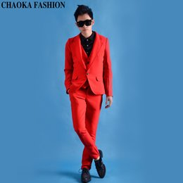 c95bfef1ba Big red male suit jacket vest pants costumes singer dancer dress  performance stage show nightclub chothing fashion slim wear show DjDs party