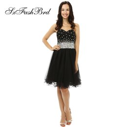 $enCountryForm.capitalKeyWord NZ - Fashion Elegant Sweetheart A Line With Bling Crystals Knee Length Short Black Tulle Party Formal Evening Dresses for Women Prom Dress