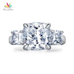star 5.5 NZ - Peacock Star Cushion Cut 4 Carat Solid 925 Sterling Silver Ring Three-Stone Pageant Luxury Jewelry CFR8309 S18101608