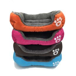 Waterproof pet pad online shopping - Candy Color Footprint Pet Supplies Square Shape Dog Pads Cute Warm Plush Creative Convenient Mould Proof Bed cn jj