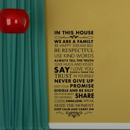 Discount family quotes for wall art - In This House We Are a Family Removable Vinly Wall Stickers Quotes and Saying Art Wall Decor Decals for Living Room Home