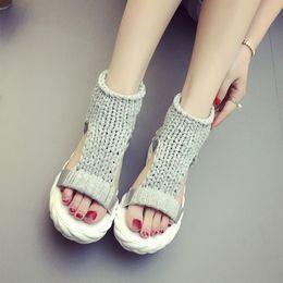 Ivory Gladiator Sandals NZ - Platform Heels Women Sandals 2017 Summer Knitted Ladies Dress Sandals Comfortable Casual Shoes Women Fashion Student