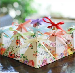 Wholesale Boxes Packaging Australia - New European Paper And Joyful Wedding Triangle Boxgift Holiday Birthday Gift Box Packaging Carton Family Decoration