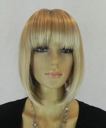 Опт Женская средний прямой полный короткий белый желтый цвет cur парик синтетический свет реальный whiteyellow короткие волосы косплей партии аниме парики волос