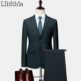 fitted piece dresses 2019 - Men Slim Fit 2 Piece Suits Single Breasted Plaid Classic Blazer Jacket Pant Plus Size 6XL Autumn Winter Dress Wedding Gr