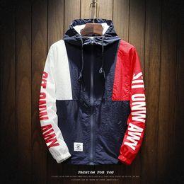 Full Zip Jacket Polyester Australia - New Spring Jacket Color Block Patchwork Windbreaker Hooded Jackets Men Hip Hop Full Zip Up Pullover Tracksuit Jacket Streetwear