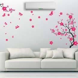 China dark red colorful flowers wall art 1702. living room diy removable wall sticker bedroom wall decals home decoration plant posterhaif supplier self stick flower decals suppliers