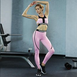 Sexy Yoga Pants Dance Australia - Sexy Pink Sport Suit Women Elastic Tracksuit Jogging Suit For Women Workout Yoga Set Gym Dancing Sports Bra Slim Yoga Pants
