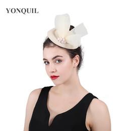 c7ffbc6ca7a91 Wedding Pillbox Hat UK - Charming Winter pillbox fedora hats wedding women  tulle bowknot felt fascinator