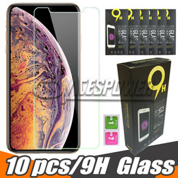 Para Iphone X XR XS MAX Protector de pantalla de vidrio templado claro para Samsung Galaxy J7 J5 Prime Paquete de papel